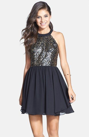 Hailey Logan Sequin Halter Dress