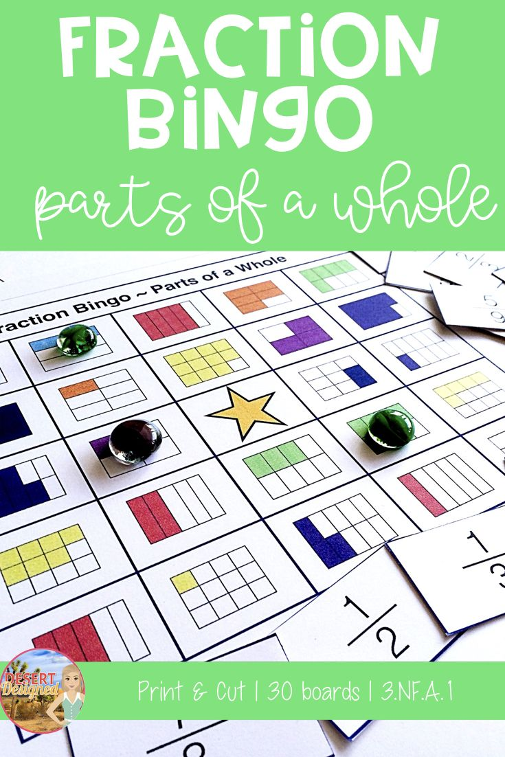 Playing Fraction Bingo Using Fraction Models Is A Great Way For Students To Practice Recognizing Part To Whole R Fractions Fraction Bingo Elementary Task Cards Adding and subtracting fraction bingo