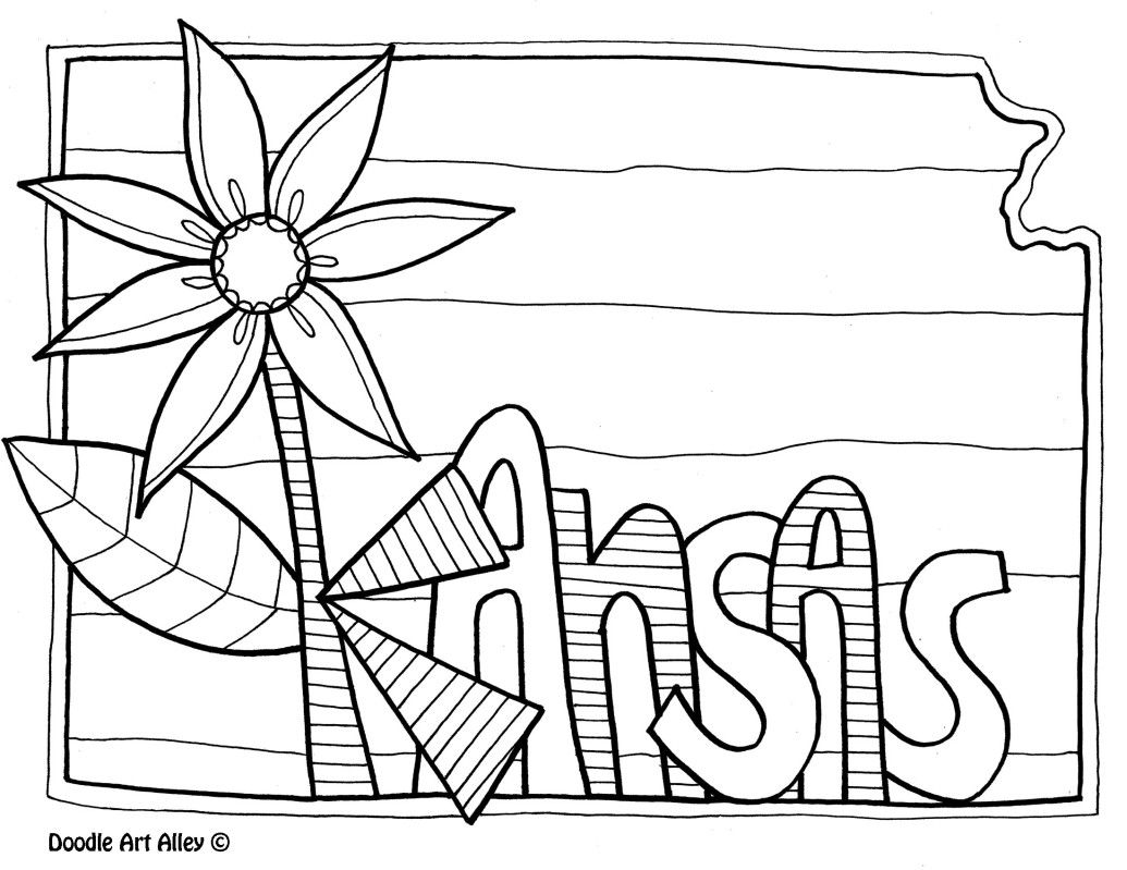 Kansas Coloring Page By Doodle Art Alley Coloring Pages