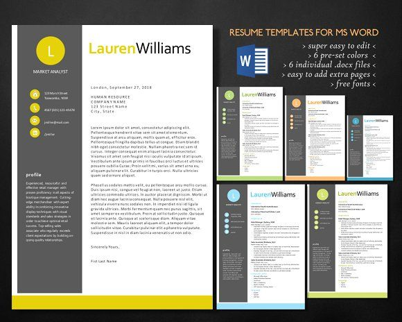 Elegant Resume For Ms Word By Inkpower On Creativemarket