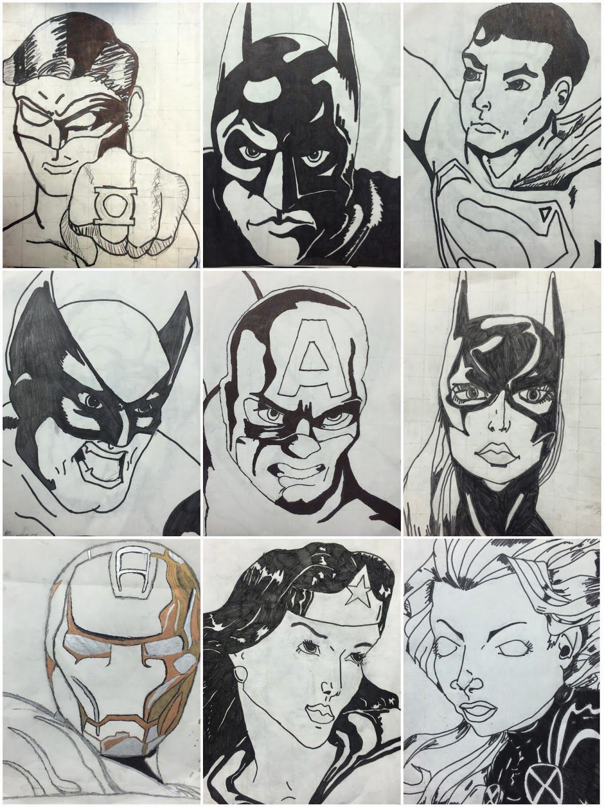 6th Grade Grid Superhero Drawings