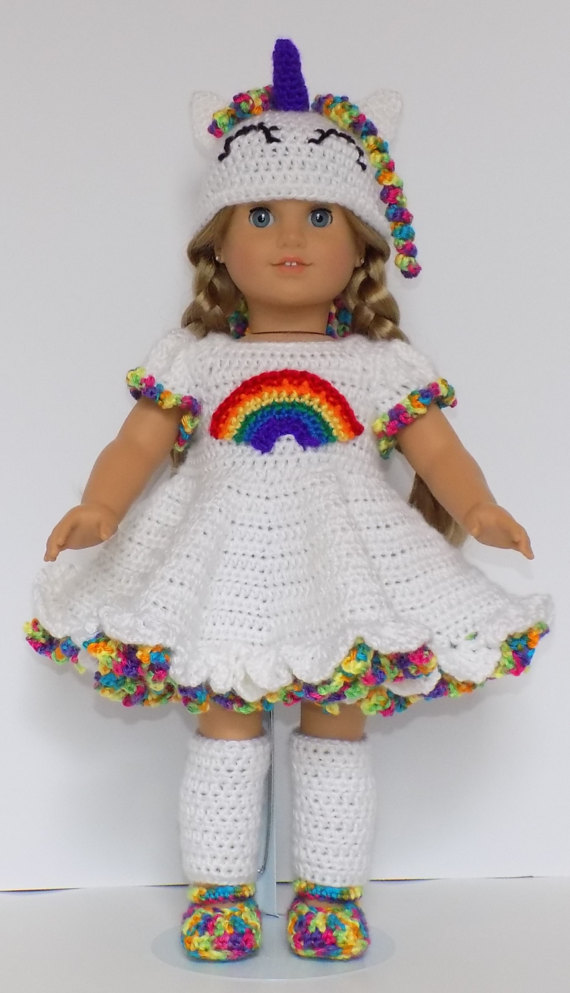 American 18 Doll Rainbow Unicorn Outfit Crochet Pattern Pdf