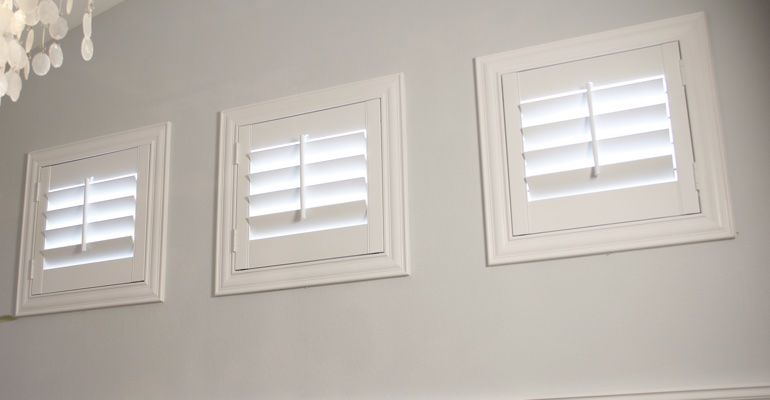 White Shutters On Three Small Square Windows Maybe Simplify With Polyvinyl Shutters Small Window Treatments Window Treatments Bedroom Window Coverings Bedroom