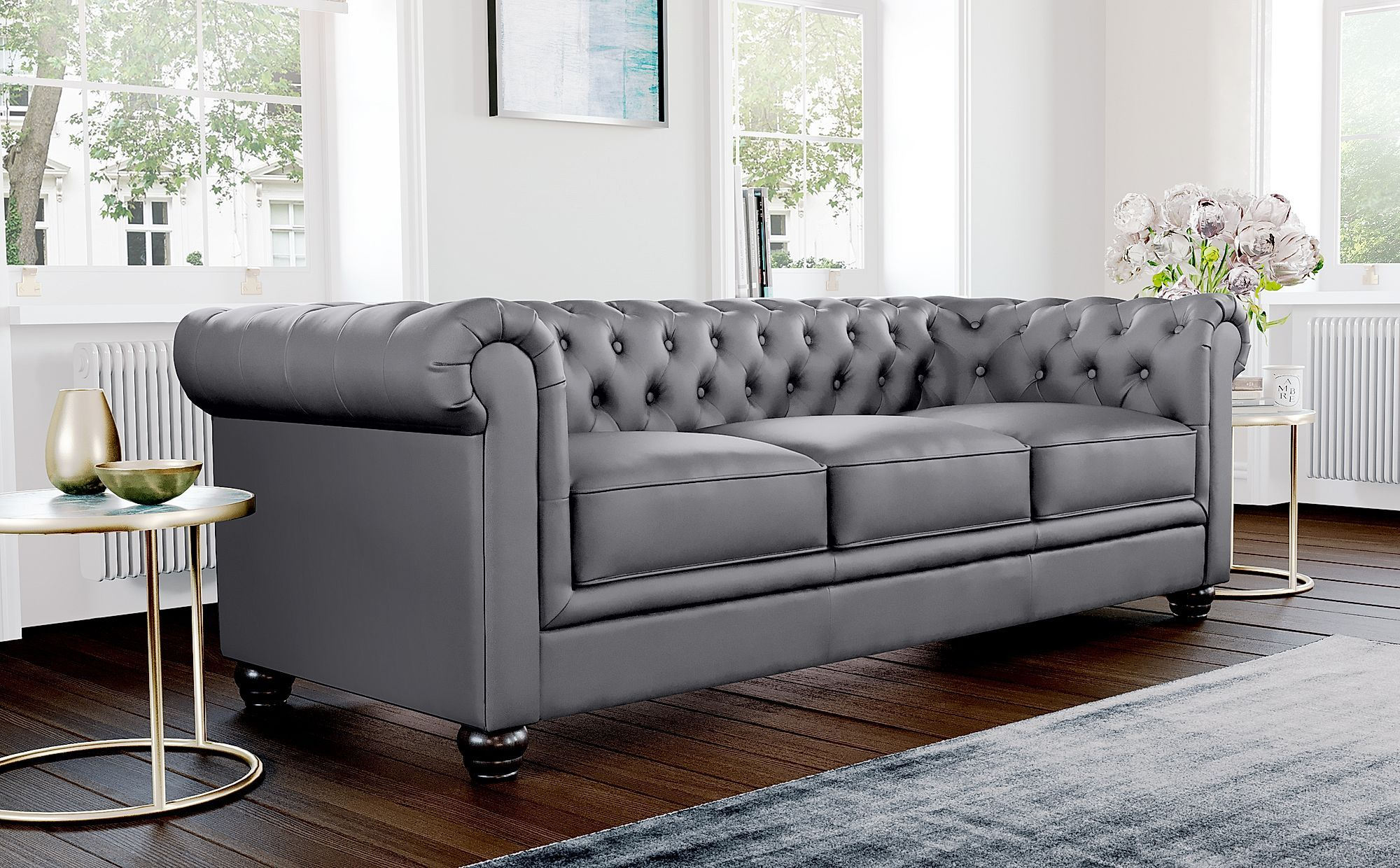 Hampton Grey Leather 3 2 Seater Chesterfield Sofa Set Furniture Choice In 2020 Chesterfield Sofa Living Room Chesterfield Sofa Sofa Furniture