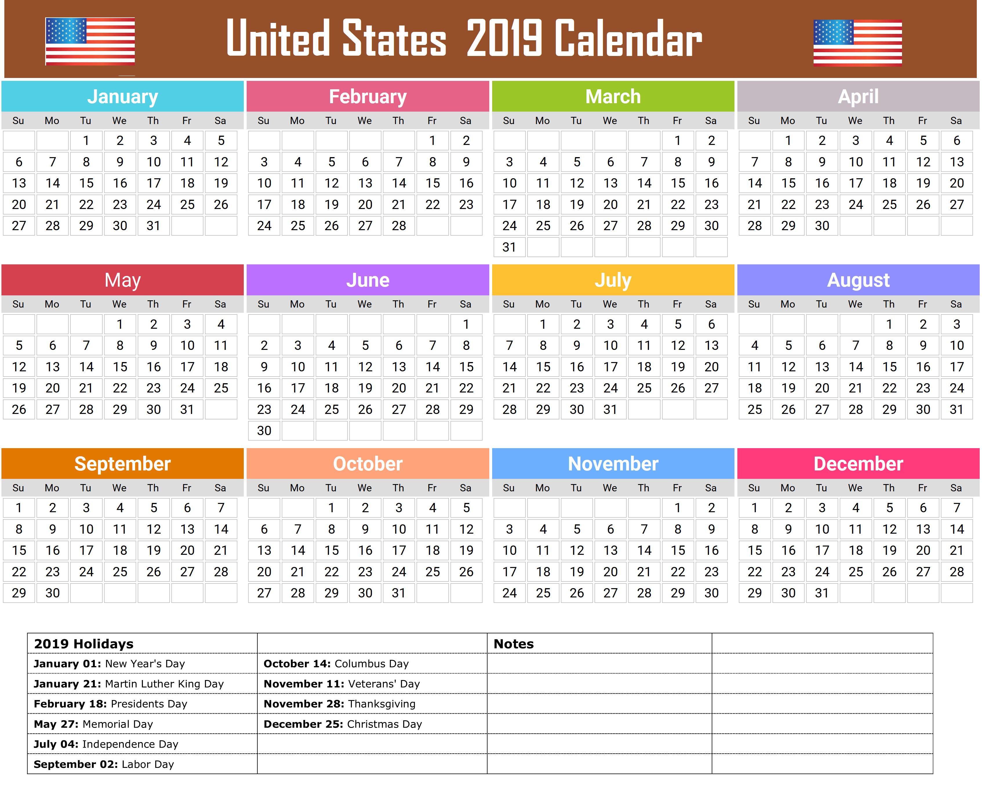 united states 2019 holidays calendar