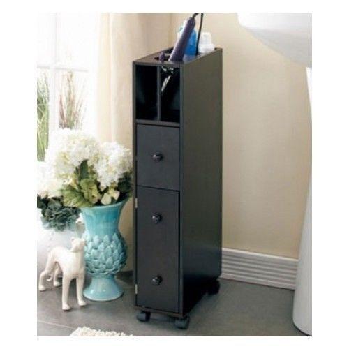 Bathroom Storage Organizer Espresso Hair Dryer Curling Iron Holder Cabinet  Caddy