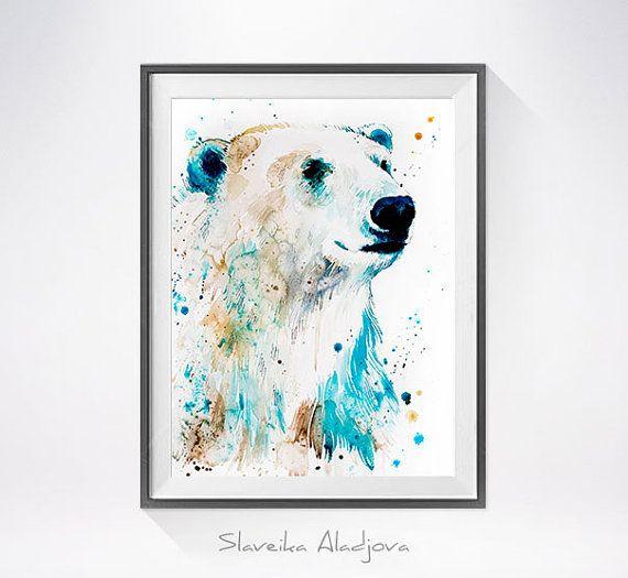 Ours Polaire Aquarelle Peinture Impression Par Slaveika Aladjova