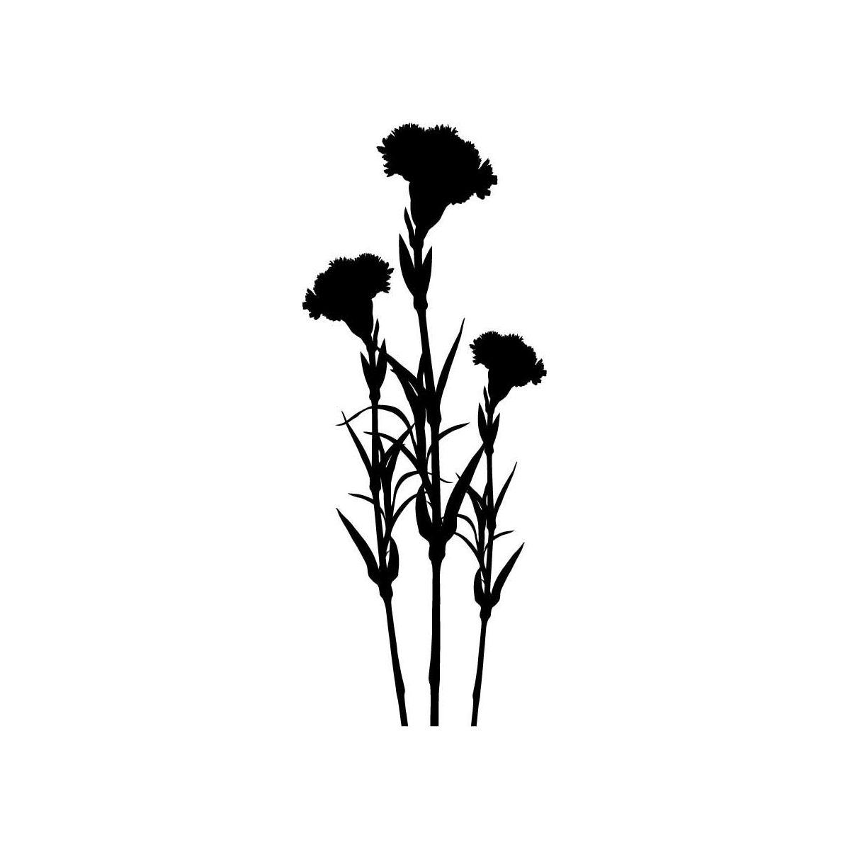 Carnation flowers sticker wallflower silhouettes
