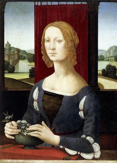 Tässä on hienot hihat. Rintamus ei ole litteä. Lorenzi di Credi. Nuoren naisen muotokuva. Ehkä nainen on Caterina Sforza, mutta minulle se ei kamalasti merkkaa mitään. Caterinan jälkeläisille ehkä enemmän.