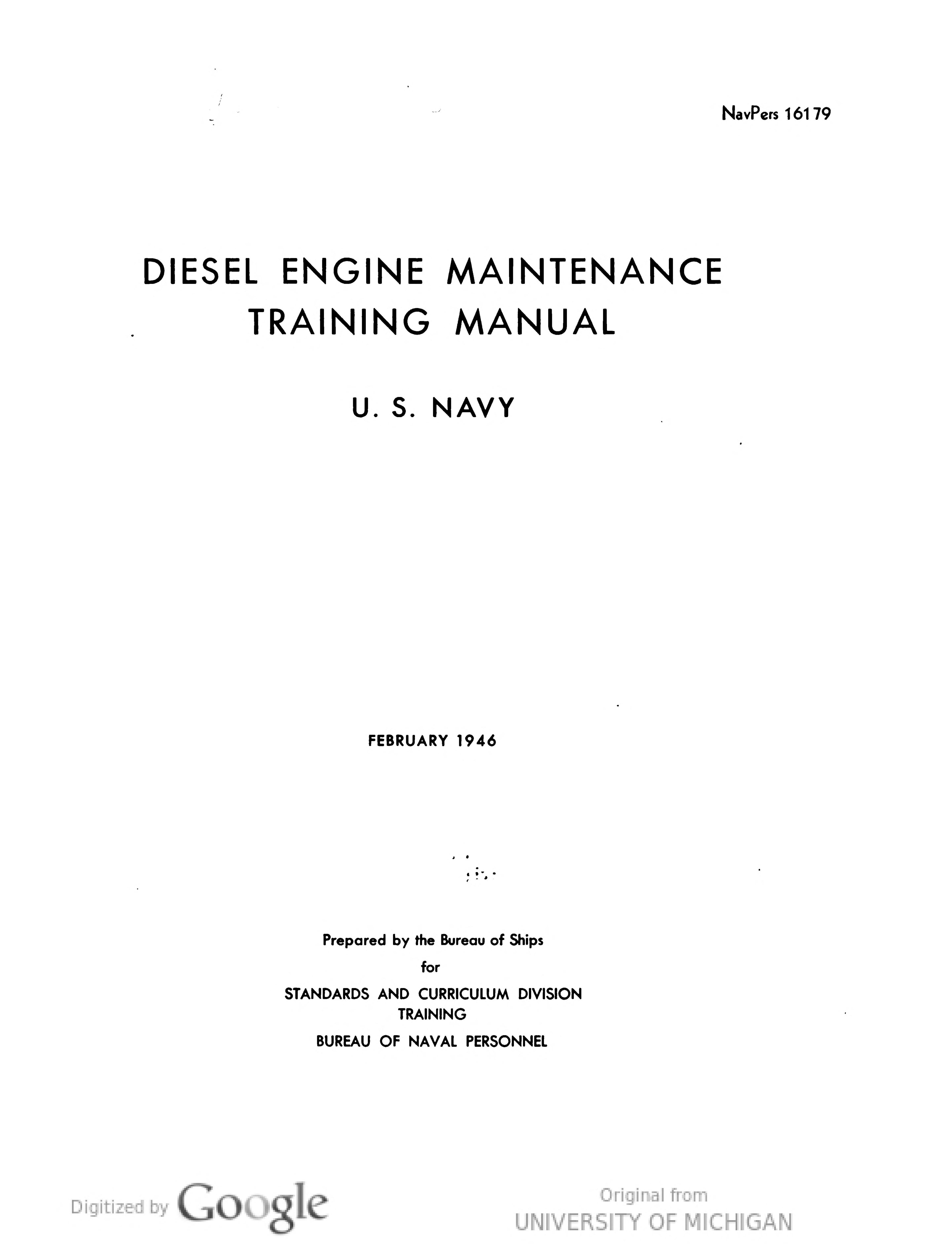 Diesel Engine Maintenance Training Manual Diesel Engine, Manual,  Engineering, Textbook, User Guide