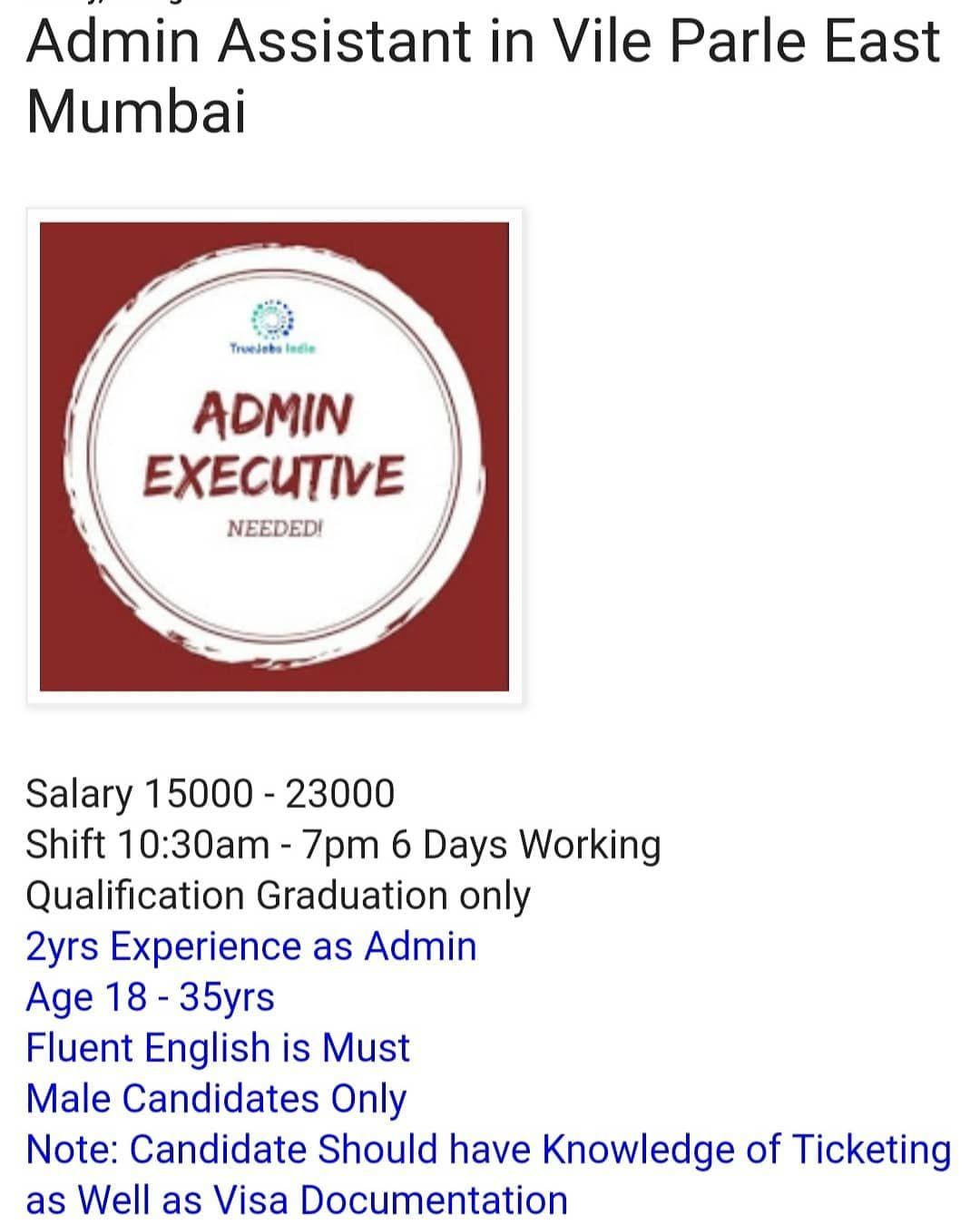 Admin Job In Mumbai In 2020 Admin Jobs Admin Assistant Admin Executive