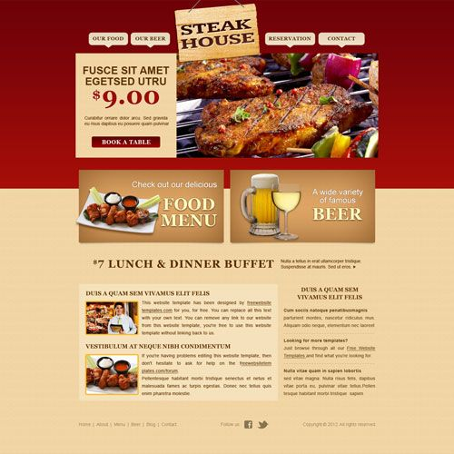 Steakhouse Web Template Free HTML Website Templates Pinterest - lunch menu template free