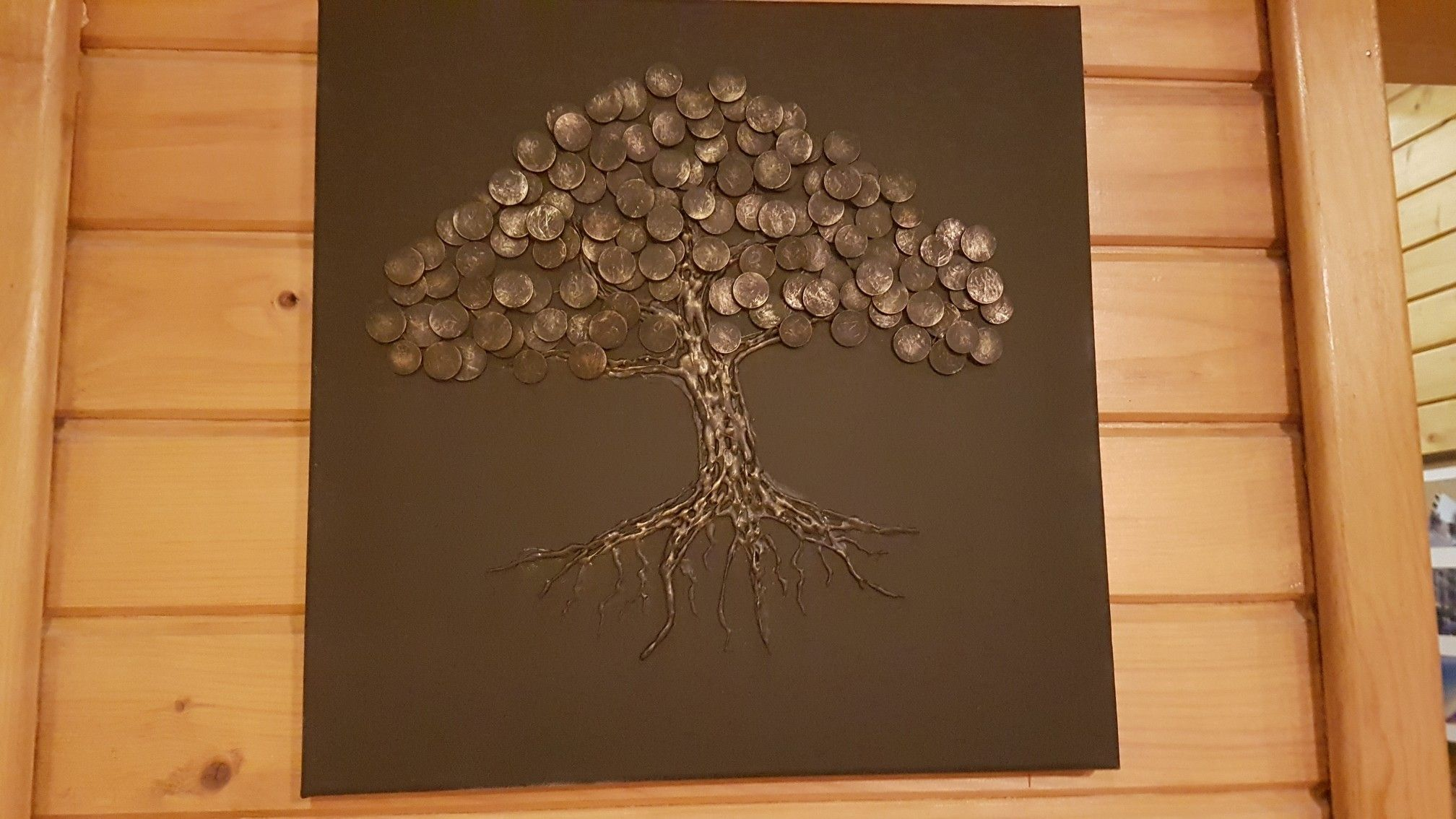 Coin art | Wood house living in 2019 | Coin art, House in