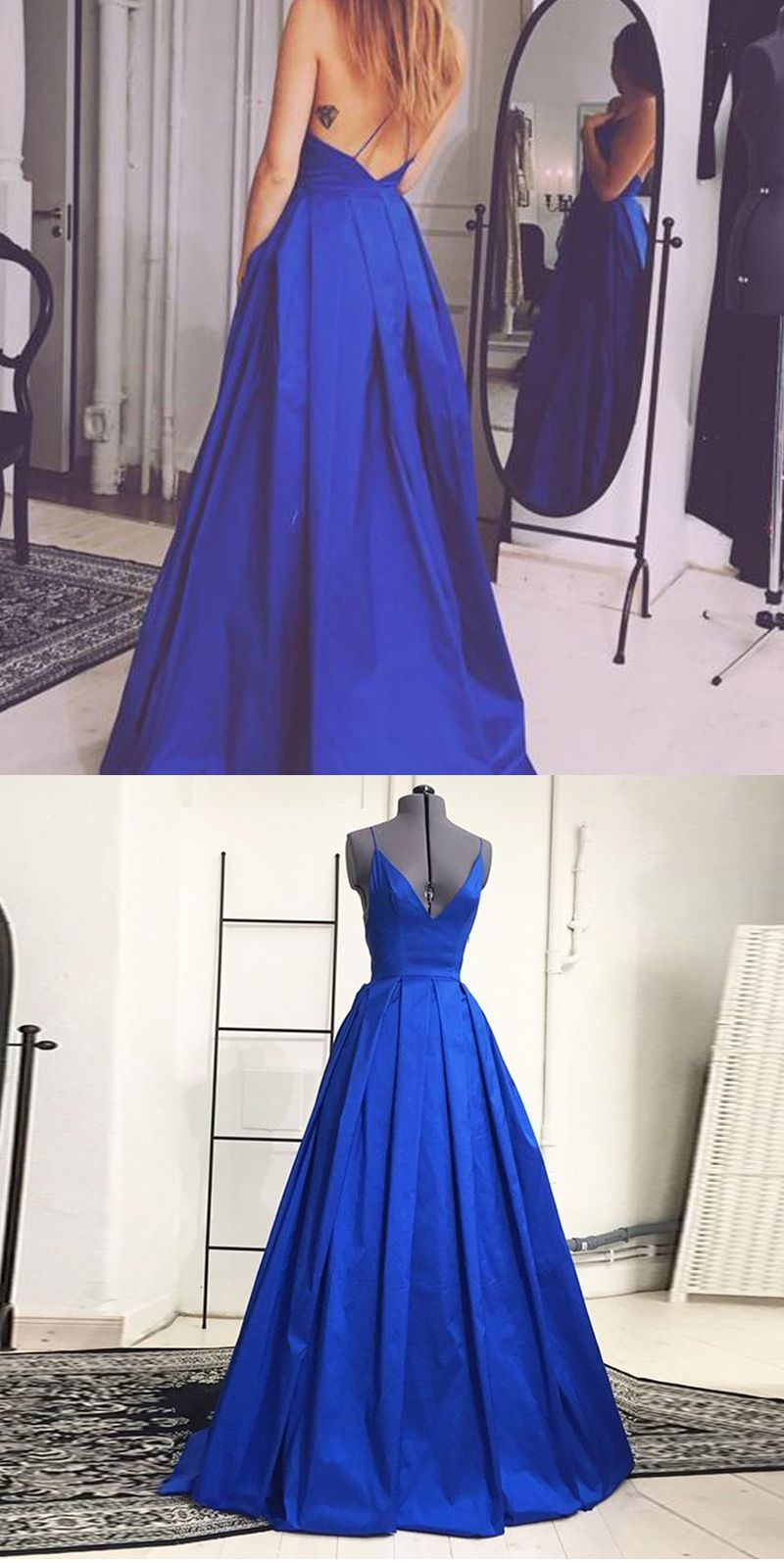 Simple royal blue prom dress vneck sleeveless floor length