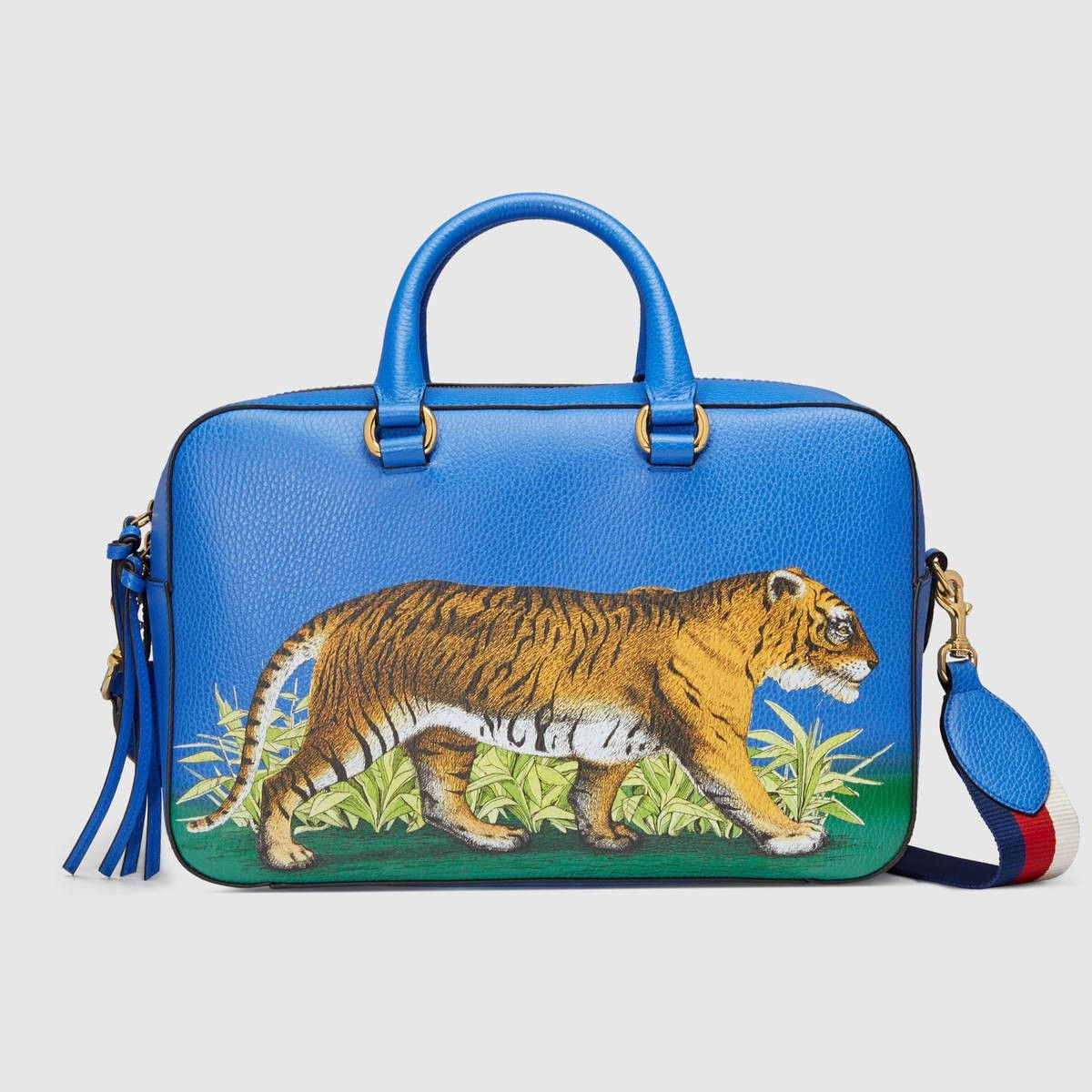 GUCCI Tiger Print Leather Top Handle Bag - Tiger Print. #gucci #bags #leather #lining #shoulder bags #linen #hand bags #nylon #cotton #