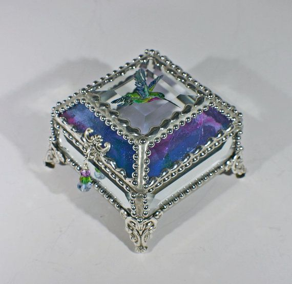 Hummingbird Etched Painted Glass Jewelry Box Hand crafted