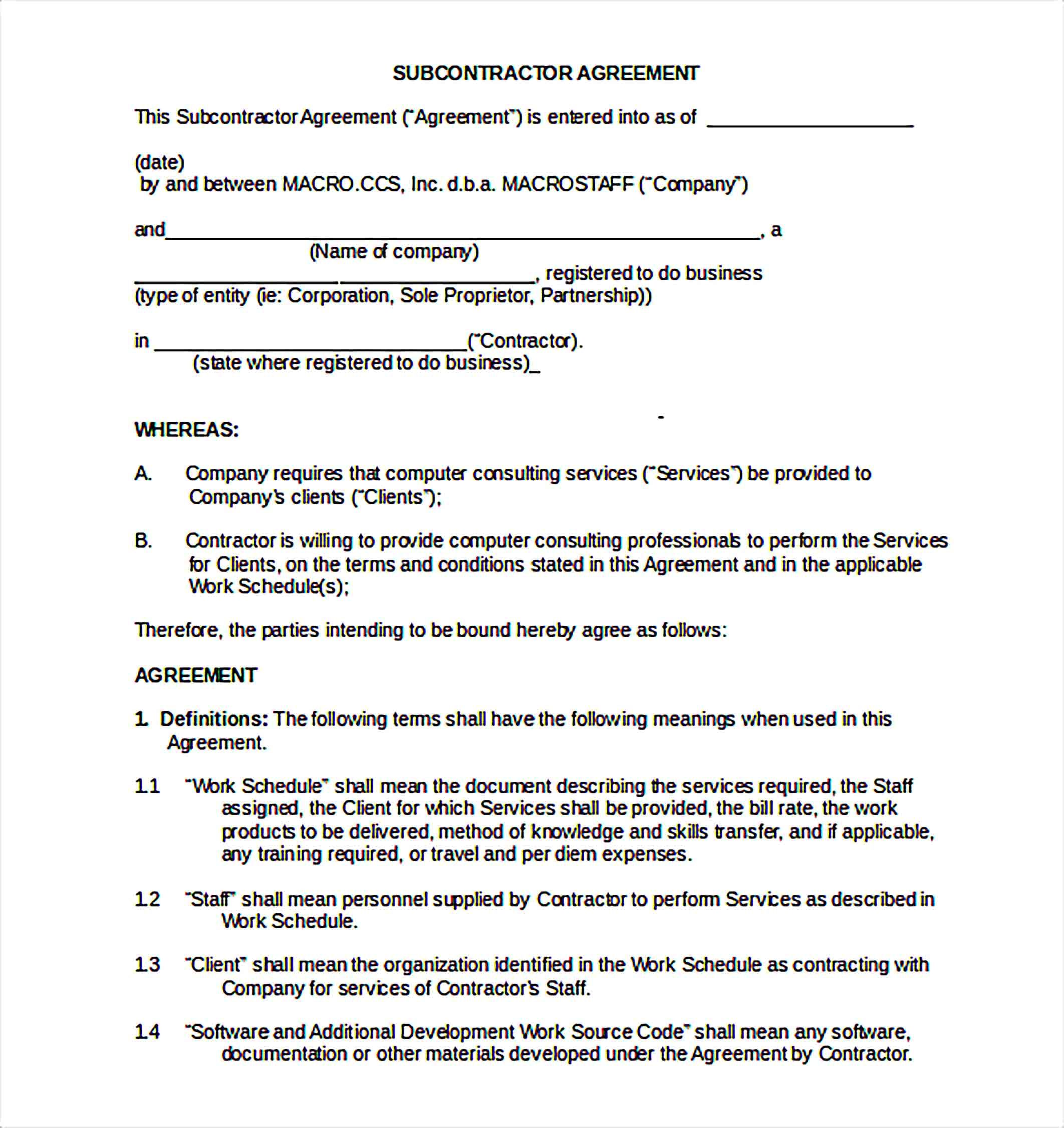 Non Compete Agreement Template Sample