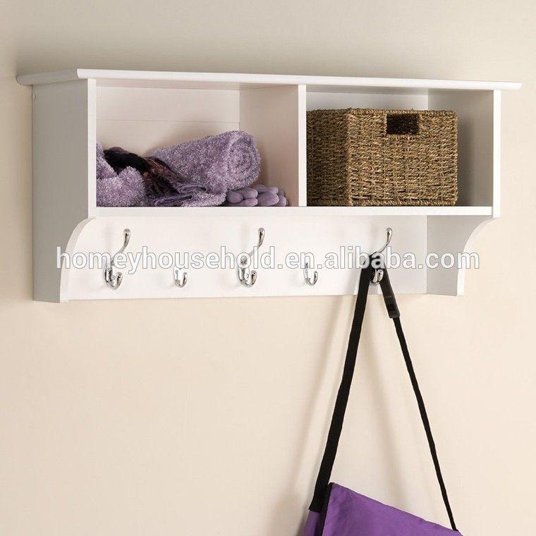Comercio al por mayor de ropa de pared mdf perchero ganchos del estante con  canastas de sauce mimbre o ratán 813f2df2163