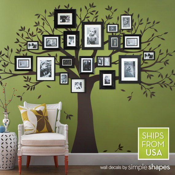 family tree decal - photo frame tree decal - family tree wall