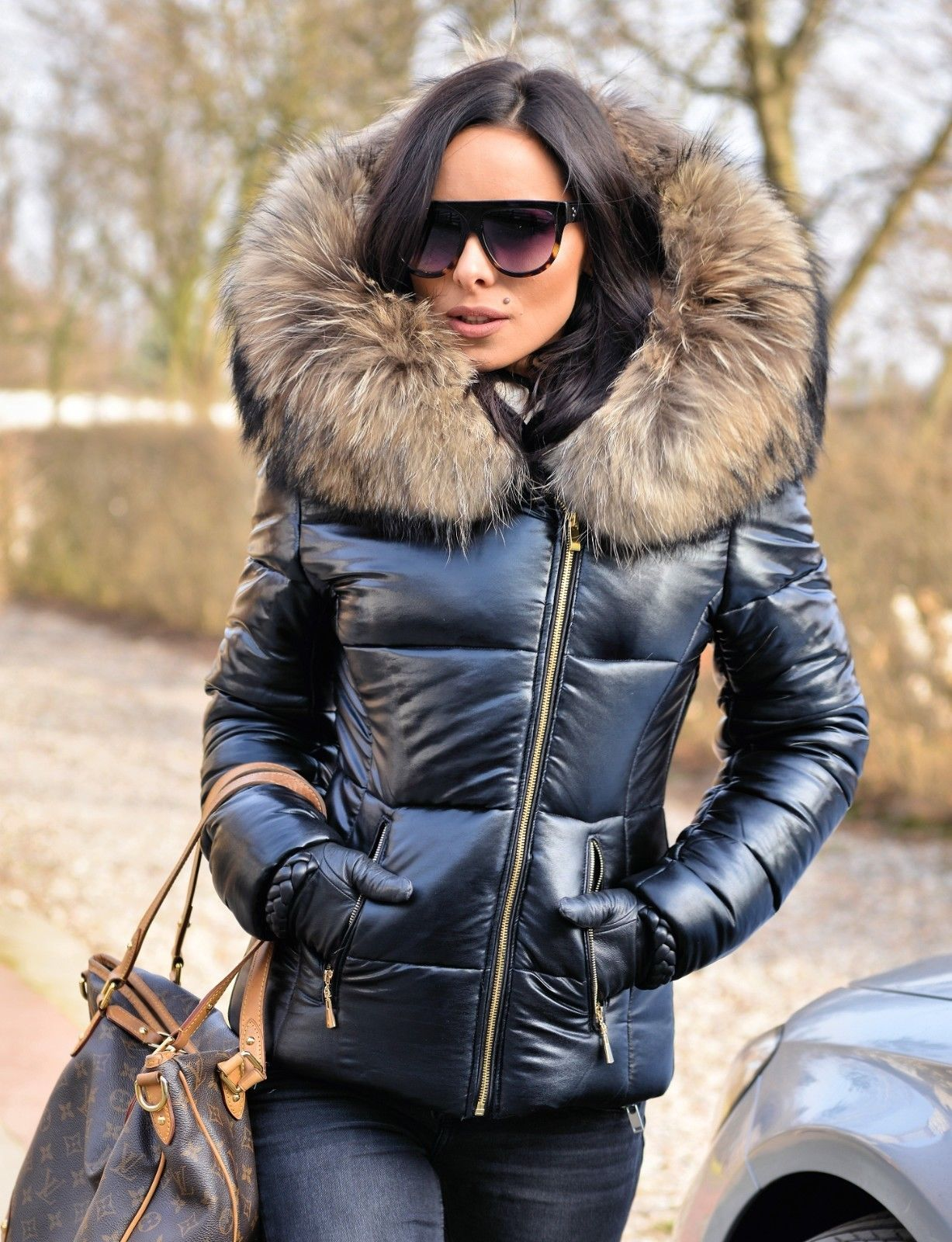 b9fa820021 METALIC BLACK DOWN JACKET WITH HOOD & FUR. this year our proposal is a  metallic silver jacket with finnraccoon fur. REAL FINNRACCOON FUR ON THE  HOOD.