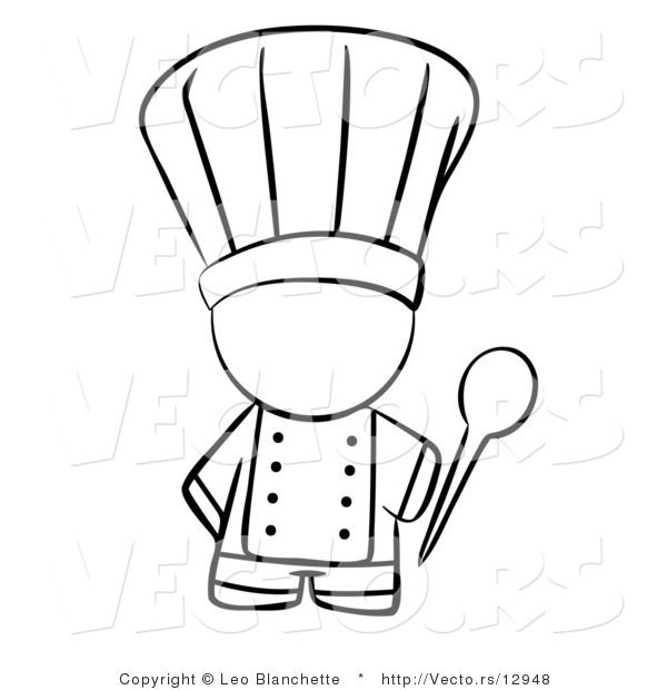 Vector Of Chef Holding A Mixing Spoon Coloring Page Outlined Art