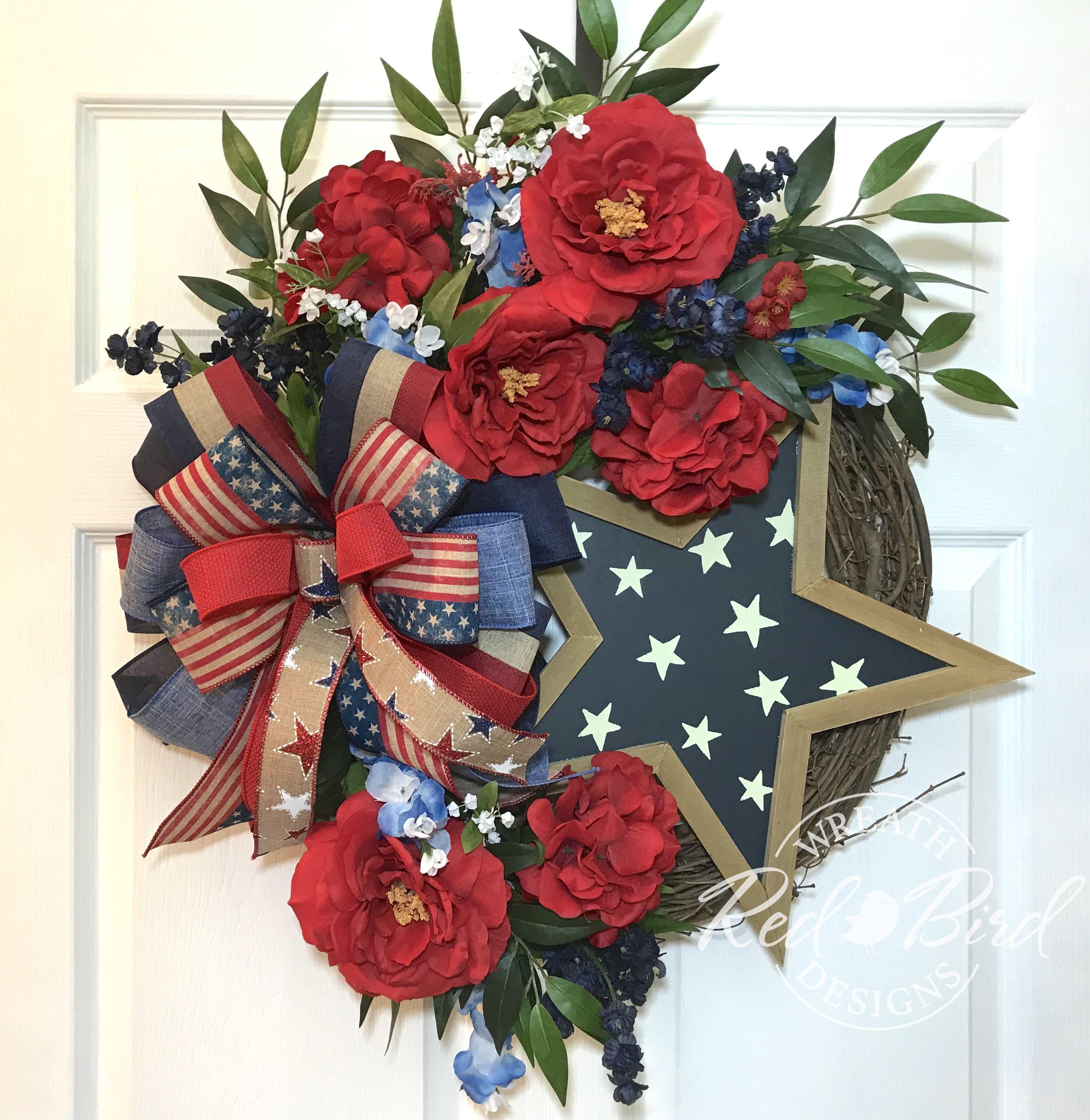 grapevine wreath front door wreath Summer wreath 4th of July wreath door wreath red white and blue wreath wreath for door