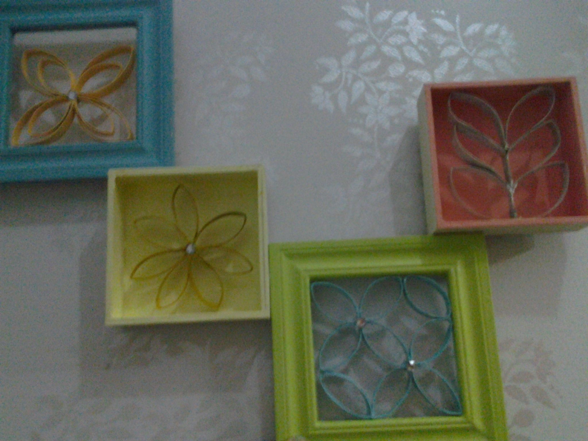 I made thIs wall art wIth two shadow boxes pIcture frames some paInt and toIlet paper rolls