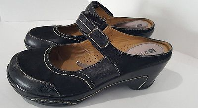 7486eb8577d0 Women s White Mountain Black Mohawk Leather Mary Jane Mules Clogs Shoes 11 M