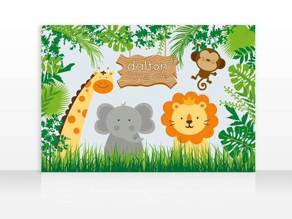 Safari Jungle Animals Birthday Printable Banner Backdrop 60x40 inches, Safari Jungle Party Backdrop, Safari Poster, HIGH RESOLUTION FILE