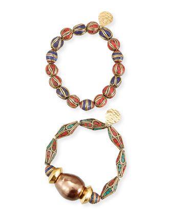 Devon Leigh Lapis & Abalone Beaded Necklace HSgf56i6S2
