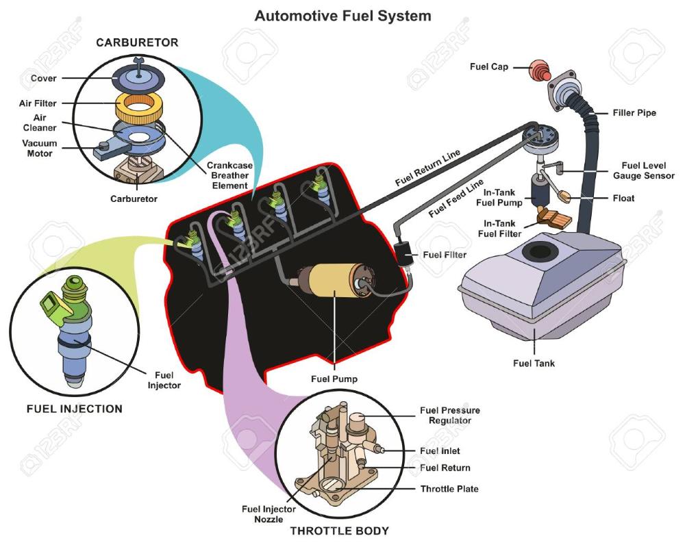 Automotive Fuel System Infographic Diagram Showing Parts Of Carburetor Automotive Carburetor Engineering