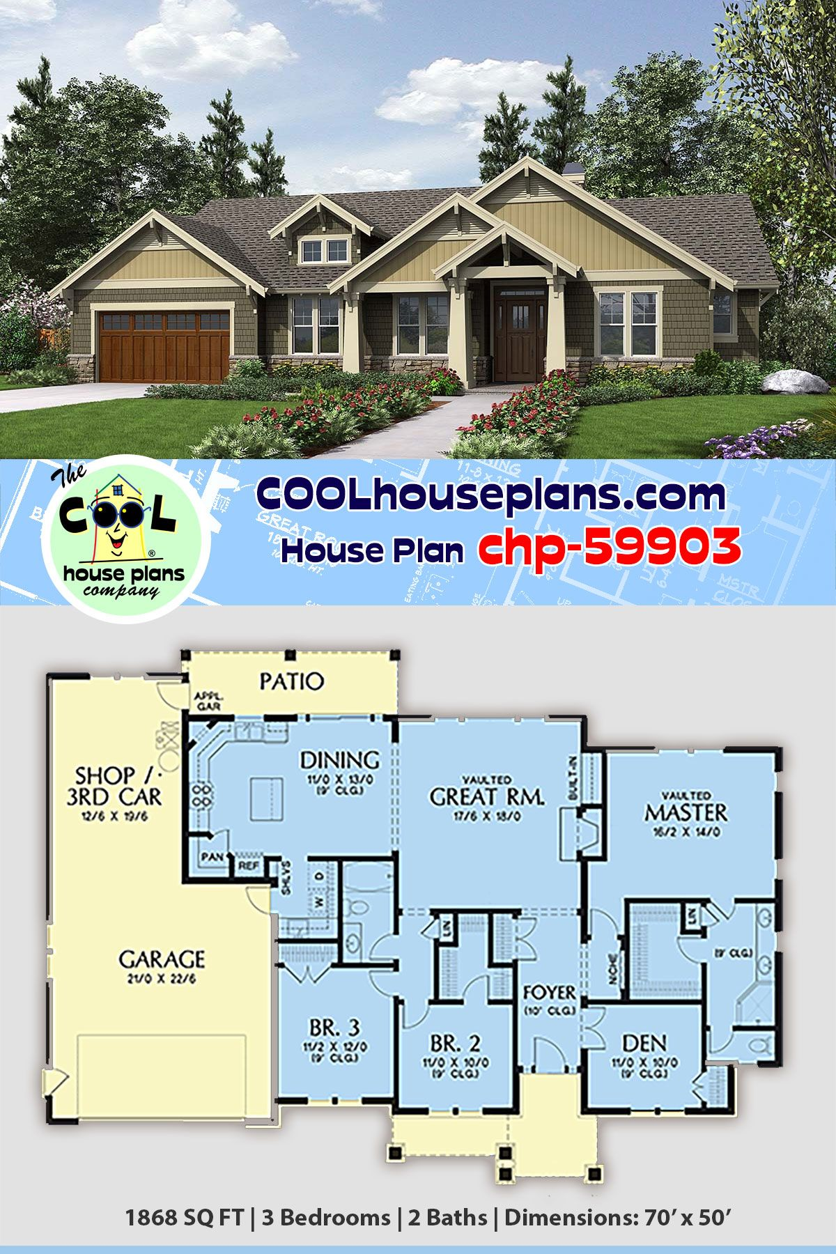 Craftsman Style House Plan 81206 With 3 Bed 2 Bath 2 Car Garage House Plans Craftsman Style House Plans Cabin House Plans