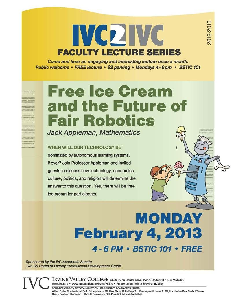 Ivcs own professor jack appleman gave a free lecture on