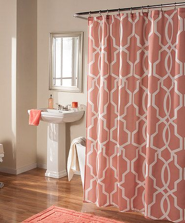 Coral Linea Shower Curtain Coral Bathroom Decor Coral Shower