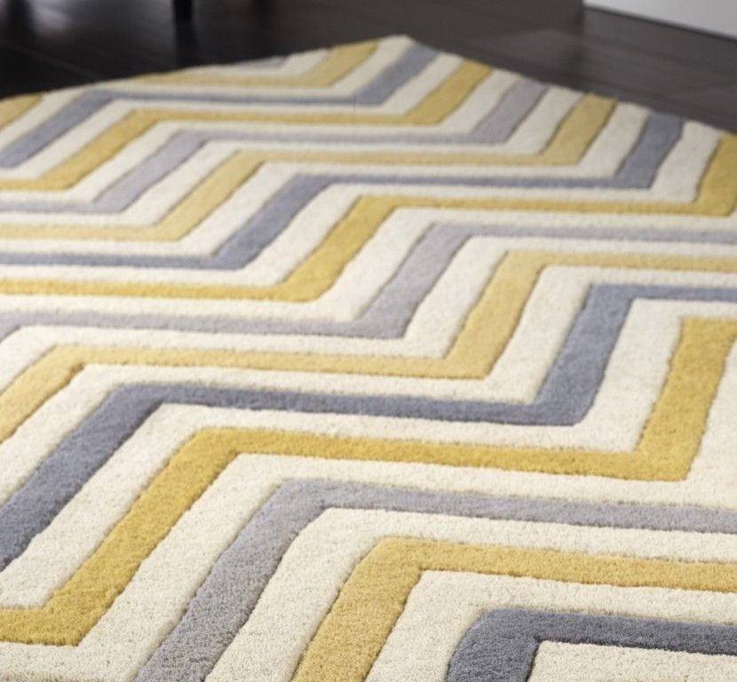 Delightful Cabone Yellow U0026 Grey Wool Rugs