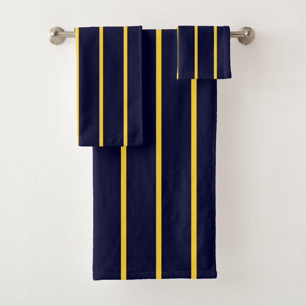 Deep Blue And Yellow Stripes Bath Towel Set Zazzle Com Towel