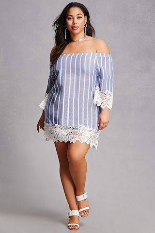 Forever 21 A Woven Tunic Dress By Velzera Featuring An Elasticized Off The Shoulder Neckline 3 4 Length Sleeves With Lace Trim Cuffs