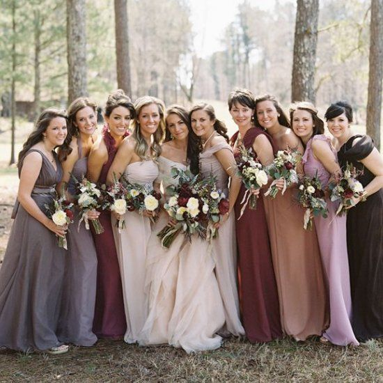 Mixed Bridesmaid Dress Ideas, Burgundy, Blush, Gray, Taupe, Almond ...