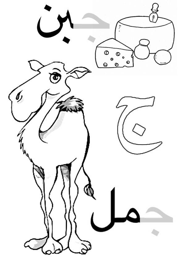 Arabic alphabet for kids, coloring page. Gim come cammello ...