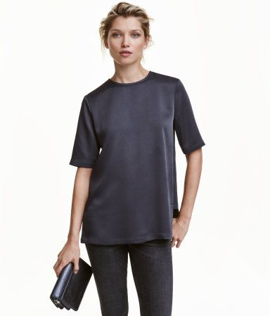 Dark gray. Short-sleeved top in satin with side panels in matte ...
