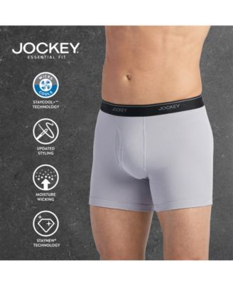 b01cce624464 Jockey Men's 3 Pack Essential Fit Staycool + Cotton Boxer Briefs - White L