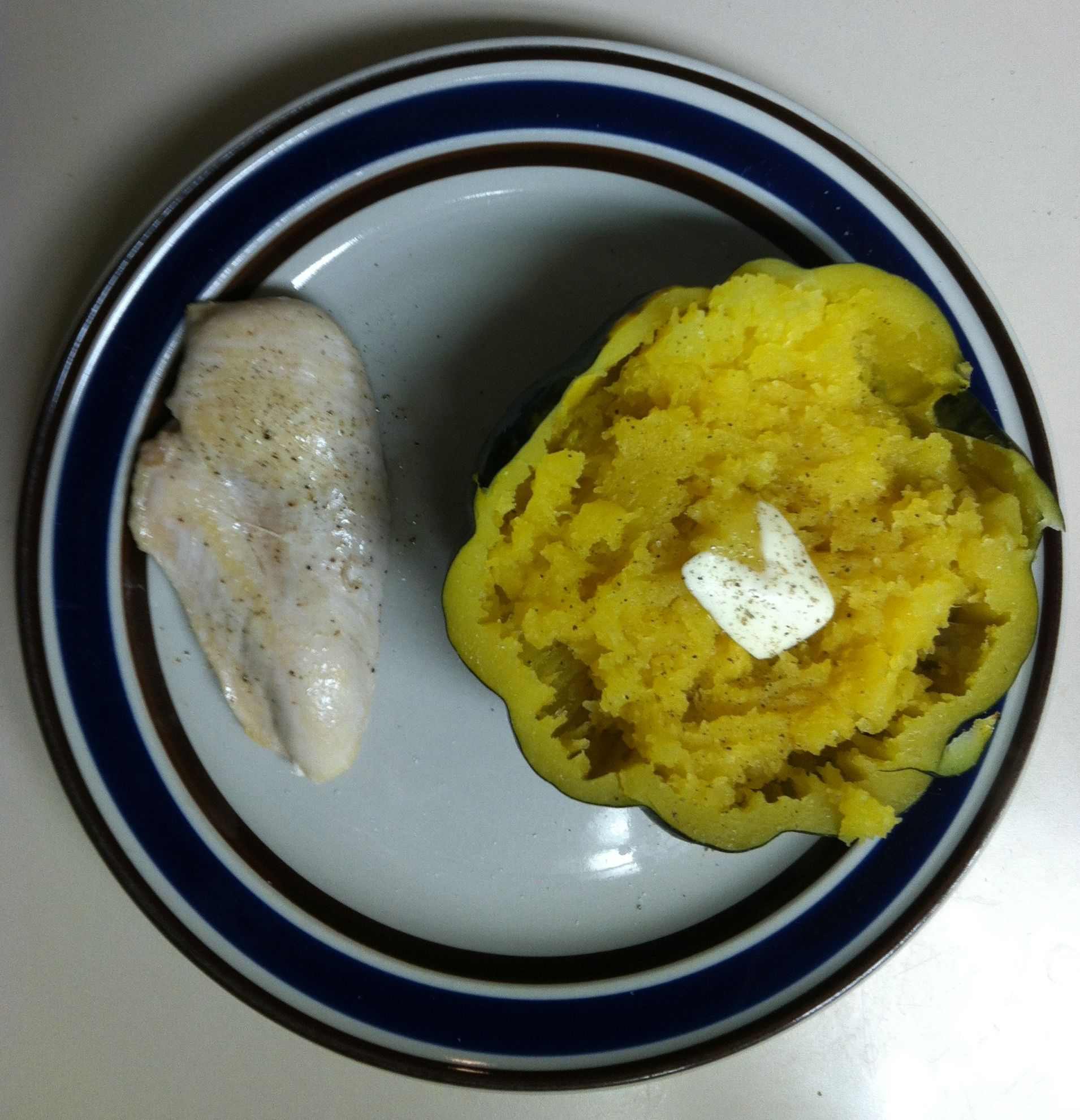 Day 13 Dinner Kym Pan Sauteed Chicken In Coconut Oil And Baked Acorn Squash With A Pat If Butter And Salt A With Images Food Cravings Sauteed Chicken Chicken Fried Rice