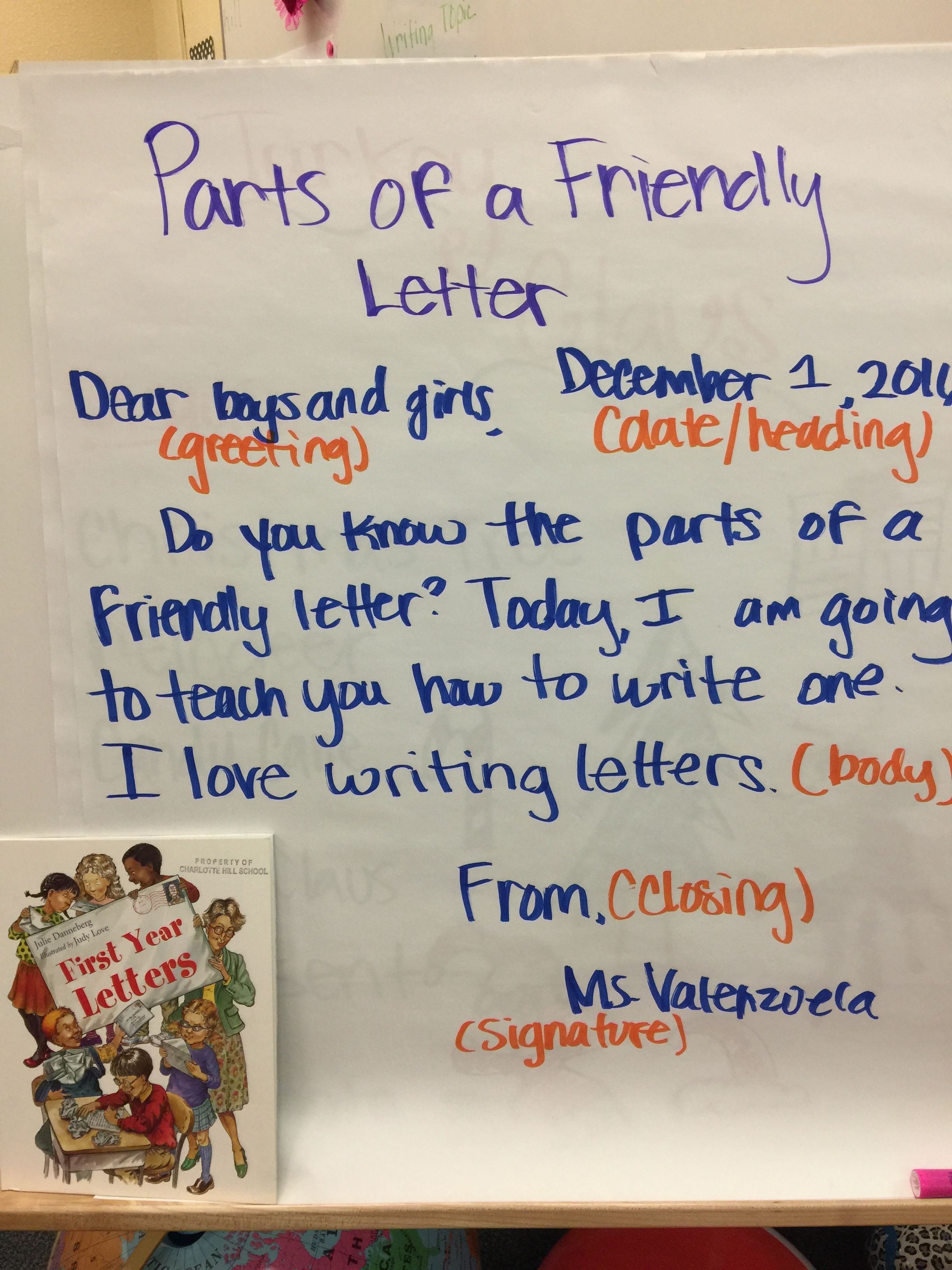 Parts Of A Friendly Letter Anchor Chart My 2nd Grade Classroom