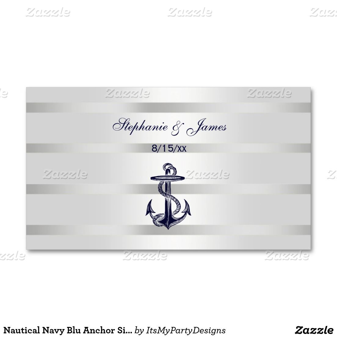 Nautical Navy Blu Anchor Silver Wht Escort Cards Double Sided Standard Business Pack Of 100