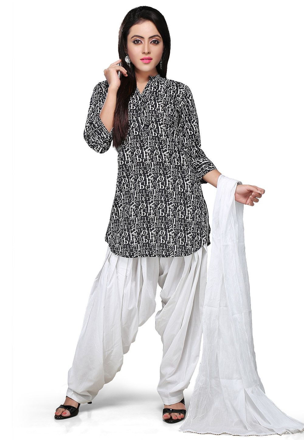 57291dddb3 BLACK AND WHITE COTTON READYMADE PATIALA SUIT | Salwar Kameez ...