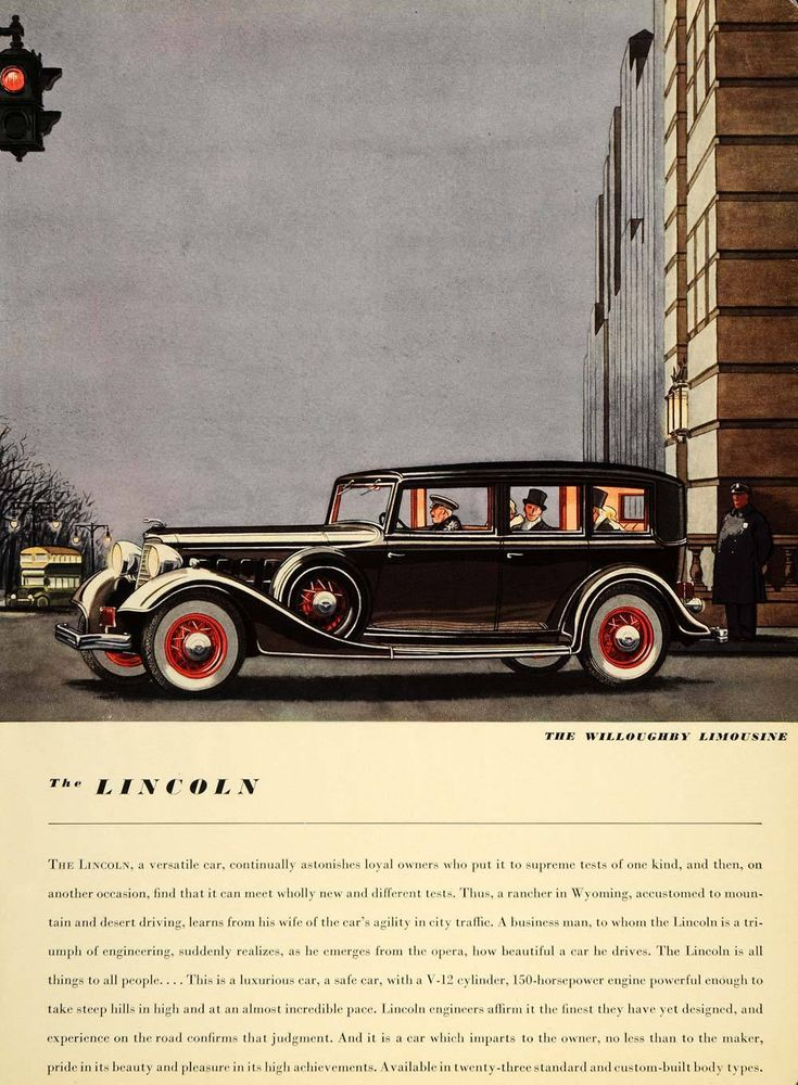 1934 Ad Lincoln Car Willoughby Limousine Luxury Ford