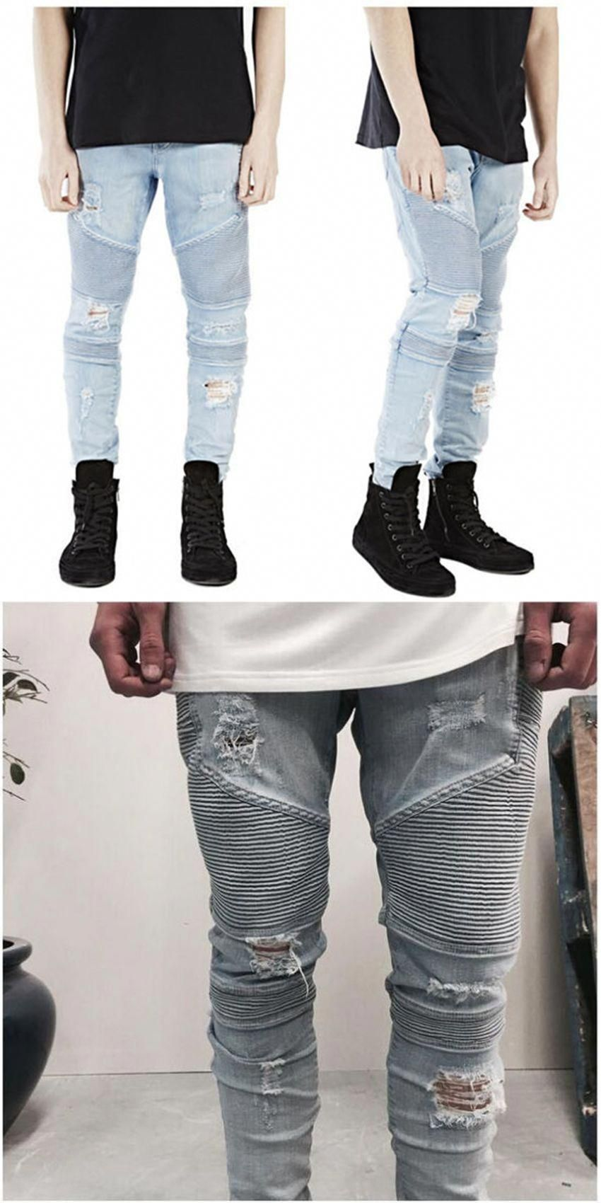 48990ca3687e TOP Men s hole BIKER Ripped  jeans With Zipper Skinny Cool Slim Fit Mens  West Jeans Urban harem patches pants For Men joggers