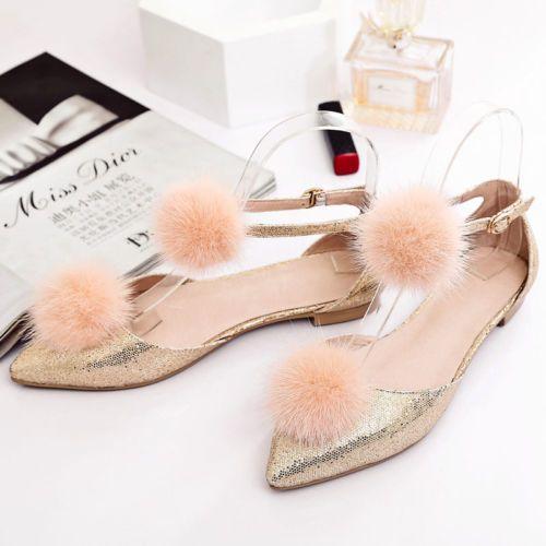 Womens-Fox-Fur-Ballet-Flats-Point-Toe-Cut-Out-Bling-Bling-Summer-Fashion-Sandals