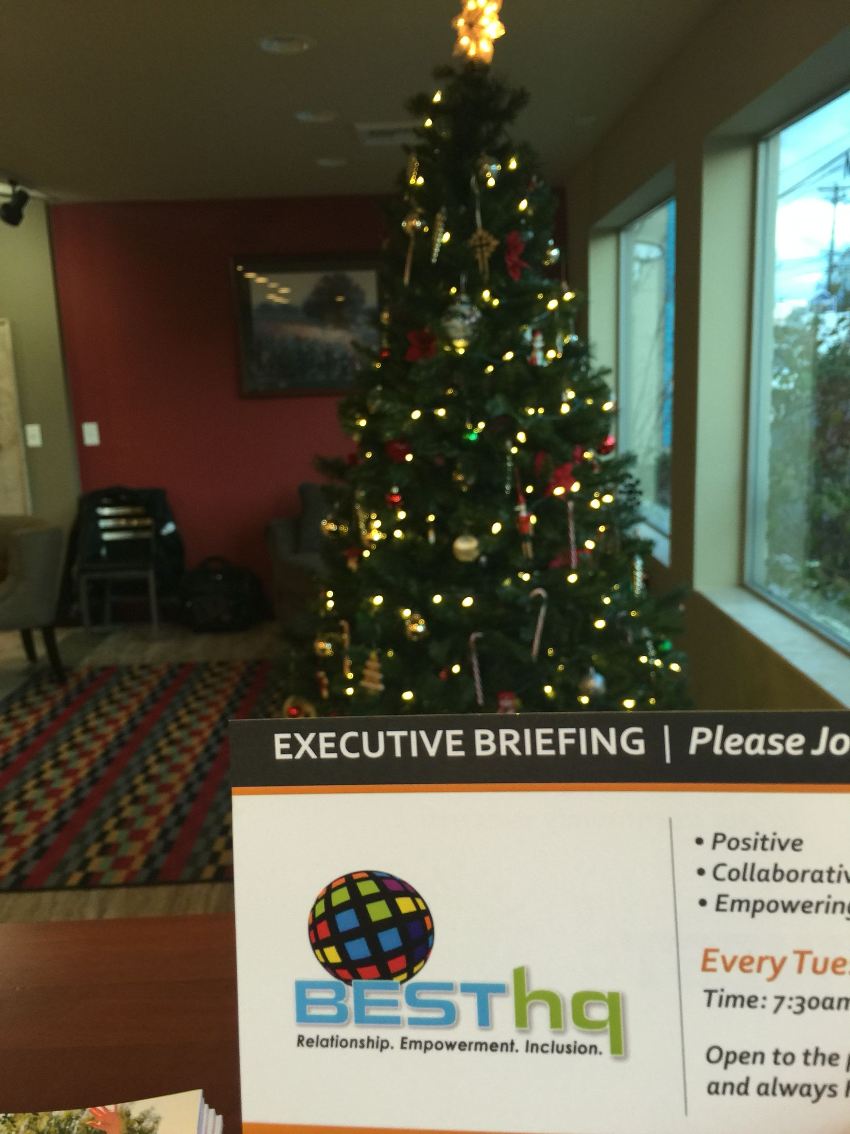 Helping trim the Christmas Tree at BestHQ in Beaverton