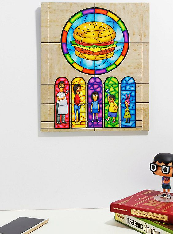 Bob S Burgers Family Stained Gl Window Wood Wall Art